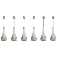 Set of six Italian Mid-Century Modern, Clear Glass & chrome Pendants