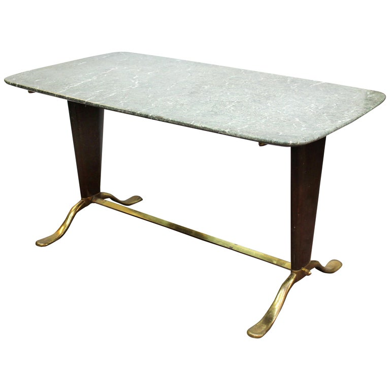 Mid Century Modern Marble Top Coffee Table: Italian Mid-Century Modern Cocktail Table With Marble Top