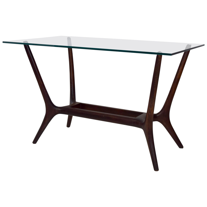 Italian Mid-Century Modern Coffee Table in Mahogany and Glass, 1950s