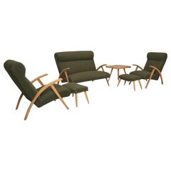 Italian Mid-Century Modern Complete Suite Chairs with Ottomans, Settee and Table