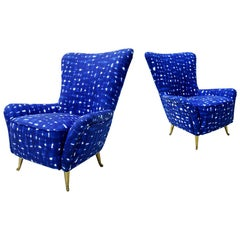 Italian Mid-Century Modern Cotton Pattern Pair of ISA Slipper Chairs