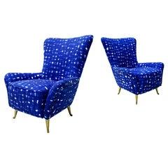 Italian Mid-Century Modern Cotton Pattern Pair of ISA Slipper Chairs