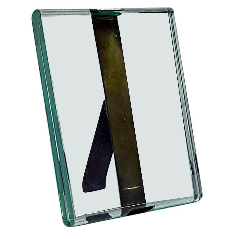 Italian Mid-Century Modern Crystal Photo Frame with Brass by Fontana Arte, 1960s