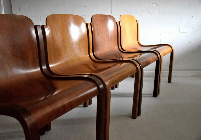 Mid-20th Century Italian Mid-Century Modern Curved Plywood Chairs by Carlo Bartoli For Sale