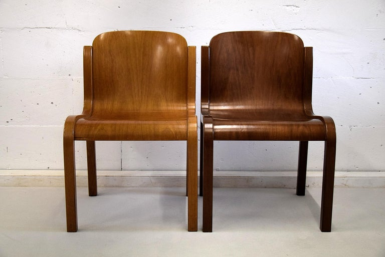 Italian Mid-Century Modern Curved Plywood Chairs by Carlo Bartoli For Sale 2