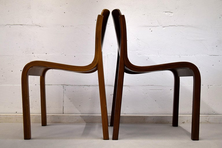 Italian Mid-Century Modern Curved Plywood Chairs by Carlo Bartoli For Sale 3