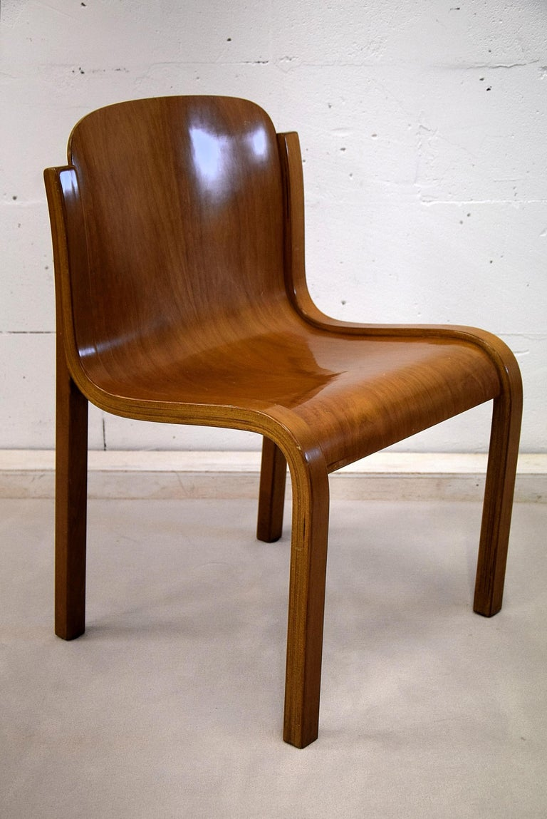 Italian Mid-Century Modern Curved Plywood Chairs by Carlo Bartoli For Sale 5