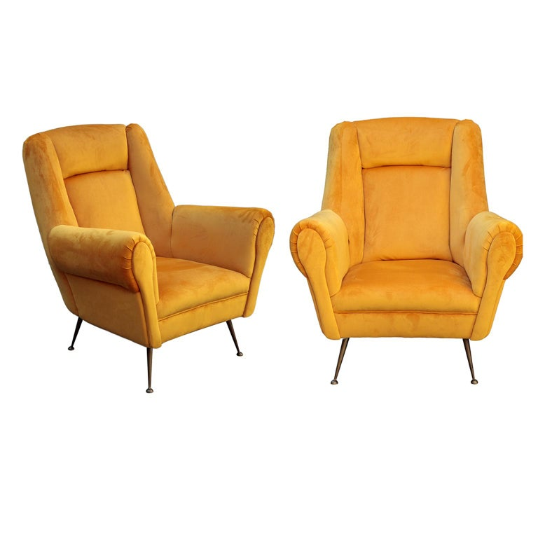 Brass Italian Mid-Century Modern Curved Sofa and 2 Armchairs by ISA Bergamo For Sale