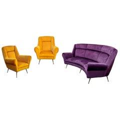 Italian Mid-Century Modern Curved Sofa and 2 Armchairs by ISA Bergamo