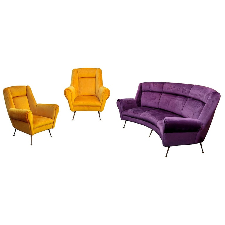 Italian Mid-Century Modern Curved Sofa and 2 Armchairs by ISA Bergamo For Sale