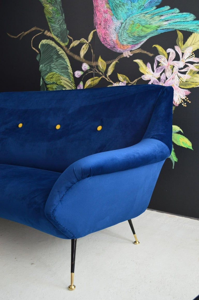 Mid-20th Century Italian Mid-Century Modern Curved Sofa Reupholstered in Blue Velvet, 1950s For Sale