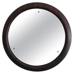 Italian Mid-Century Modern Design Big Wall Mirror with Wood Frame, 1960s
