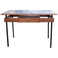 Italian Mid-Century Modern Desk with Blue Veneer Tabletop, 1950s