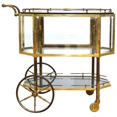 Italian Mid-Century Modern Dessert or Pastry Cart in Brass & Glass