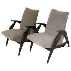 Italian Mid-Century Modern Diminutive Reclining Armchairs in Lacquered Wood