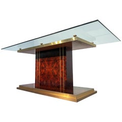 Italian Mid-Century Modern Dining Table in Thick Glass and Walnut Root, 1970s