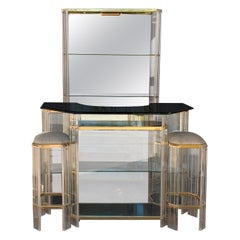 Italian Mid-Century Modern Dry Bar Set, Chrome, Lucite and Glass, Signed