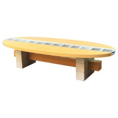 Italian Mid-Century Modern Elliptical Solid Wood Coffee Table, 1980s