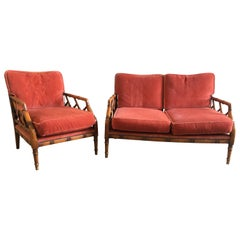 Italian Mid-Century Modern Faux Bamboo Living Room Set, 1960s