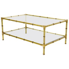 Italian Mid-Century Modern Faux Bamboo Machined Brass Rectangle Two-Tier Coffee