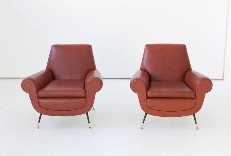 Mid-20th Century Italian Mid-Century Modern Faux Leather Armchairs by Gigi Radice for Minotti For Sale