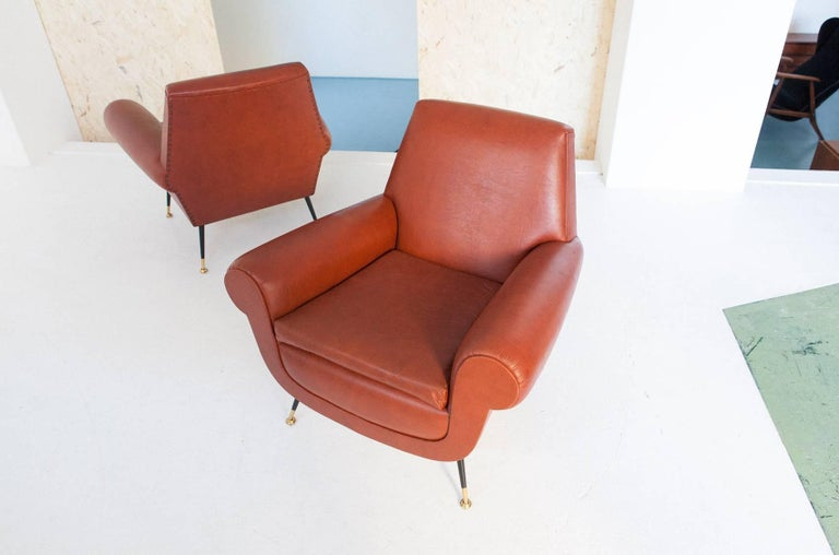 Brass Italian Mid-Century Modern Faux Leather Armchairs by Gigi Radice for Minotti For Sale