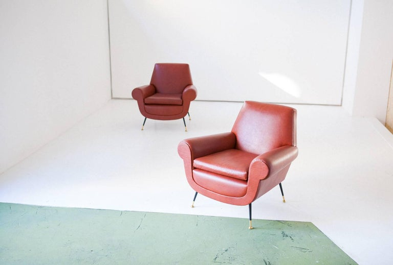 Italian Mid-Century Modern Faux Leather Armchairs by Gigi Radice for Minotti For Sale 1