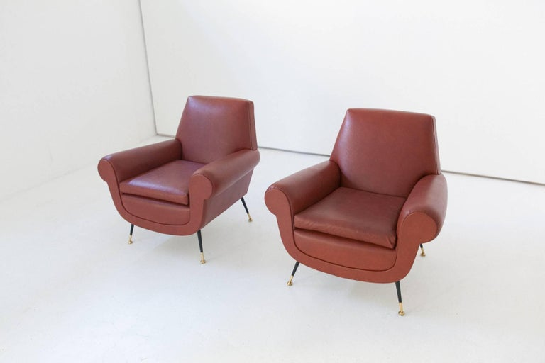 Italian Mid-Century Modern Faux Leather Armchairs by Gigi Radice for Minotti For Sale 2