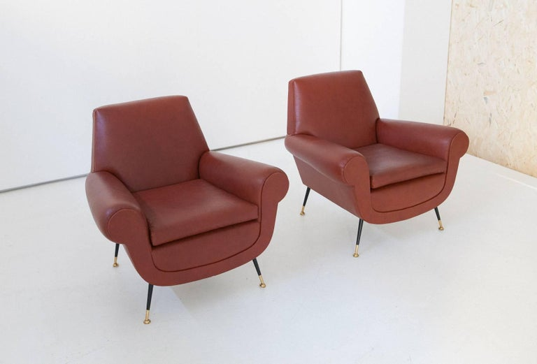 Italian Mid-Century Modern Faux Leather Armchairs by Gigi Radice for Minotti For Sale 3