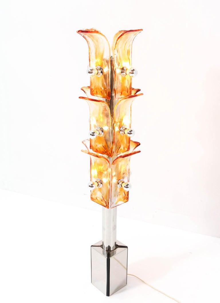 Murano Glass Italian Mid-Century Modern Floor Lamp Attributed to Toni Zuccheri, 1970s For Sale