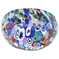 Fratelli Toso Murano Colorful Millefiori Murrine Glass Bowl, Italy, 1950s