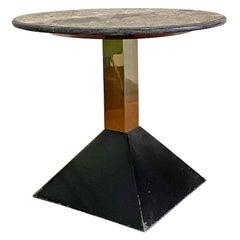 Italian Mid-Century Modern Geometric Coffee Table with Granite Round Top, 1980s