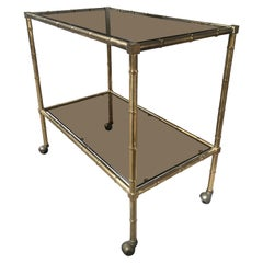 Italian Mid-Century Modern Gilt Metal Faux Bamboo Bar Cart with Smoked Glasses