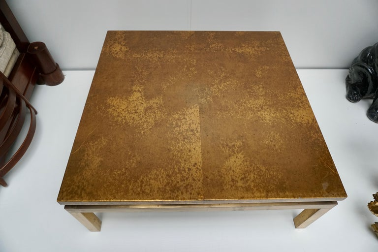 Metal Italian Mid-Century Modern Gold Coffee Table For Sale