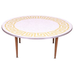 Italian Mid-Century Modern Greek Key Mosaic Tile Cocktail Table, circa 1950s