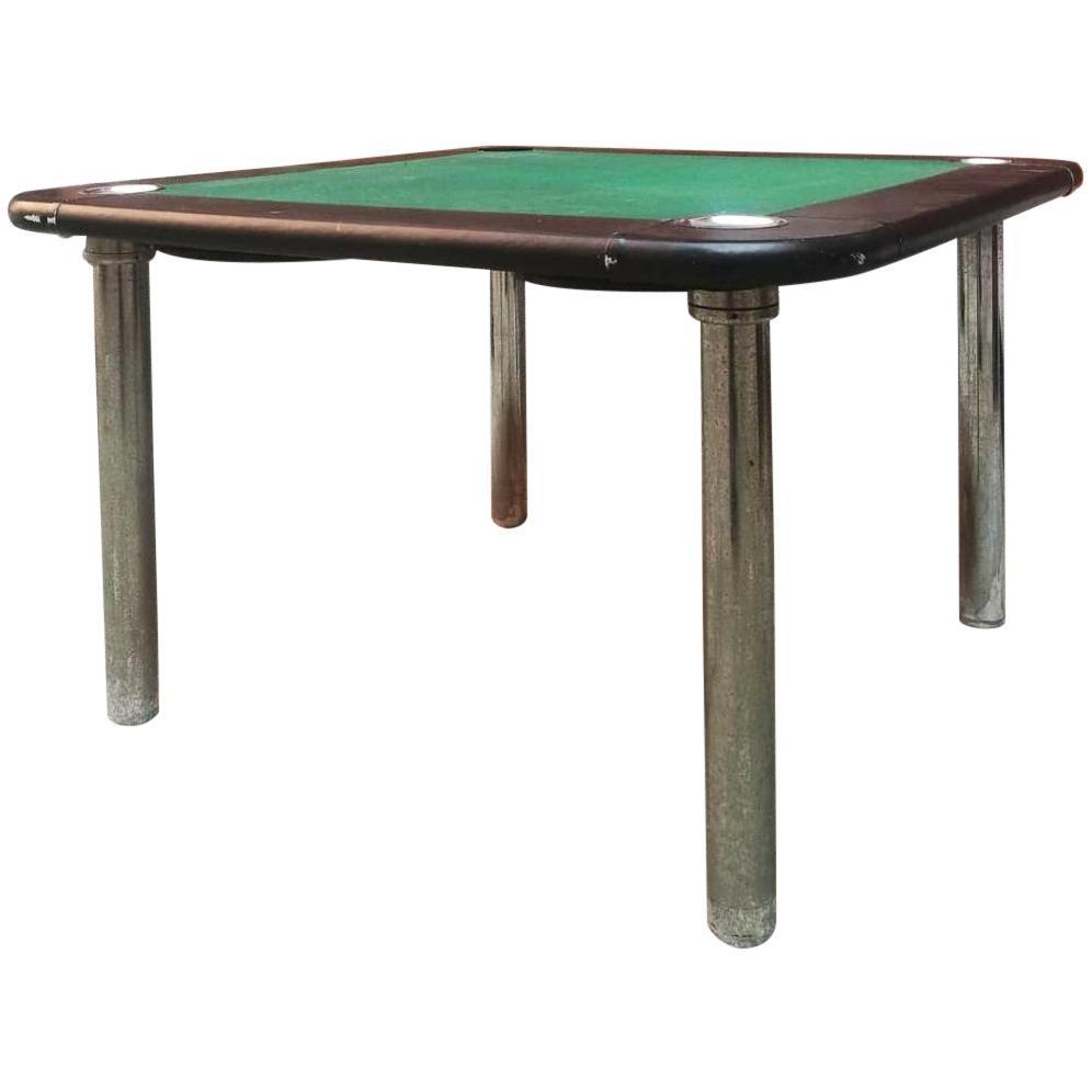 Italian Mid-Century Modern Green Velvet Game Table, 1970s
