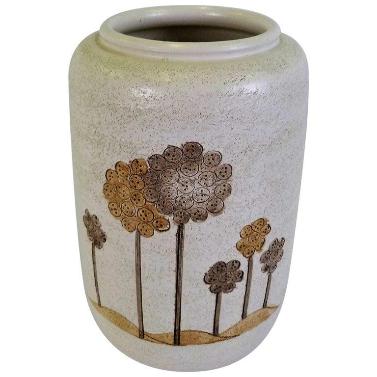 Italian Mid-Century Modern Hand Thrown Ceramic Vase Ardalt Bitossi, 1960s For Sale