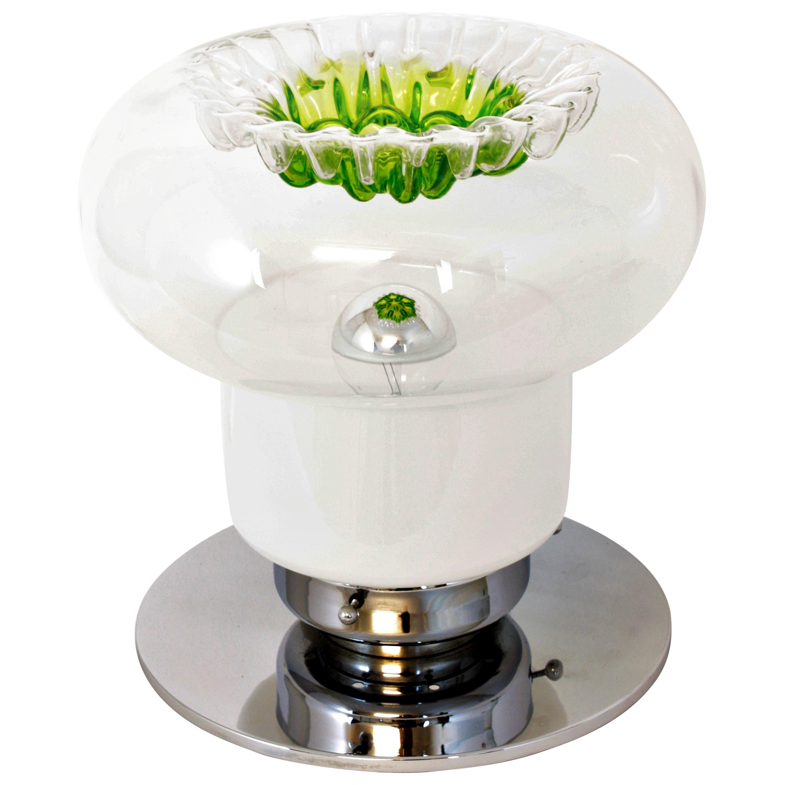 Italian Modern Blown Murano Glass and Chrome Table Lamp