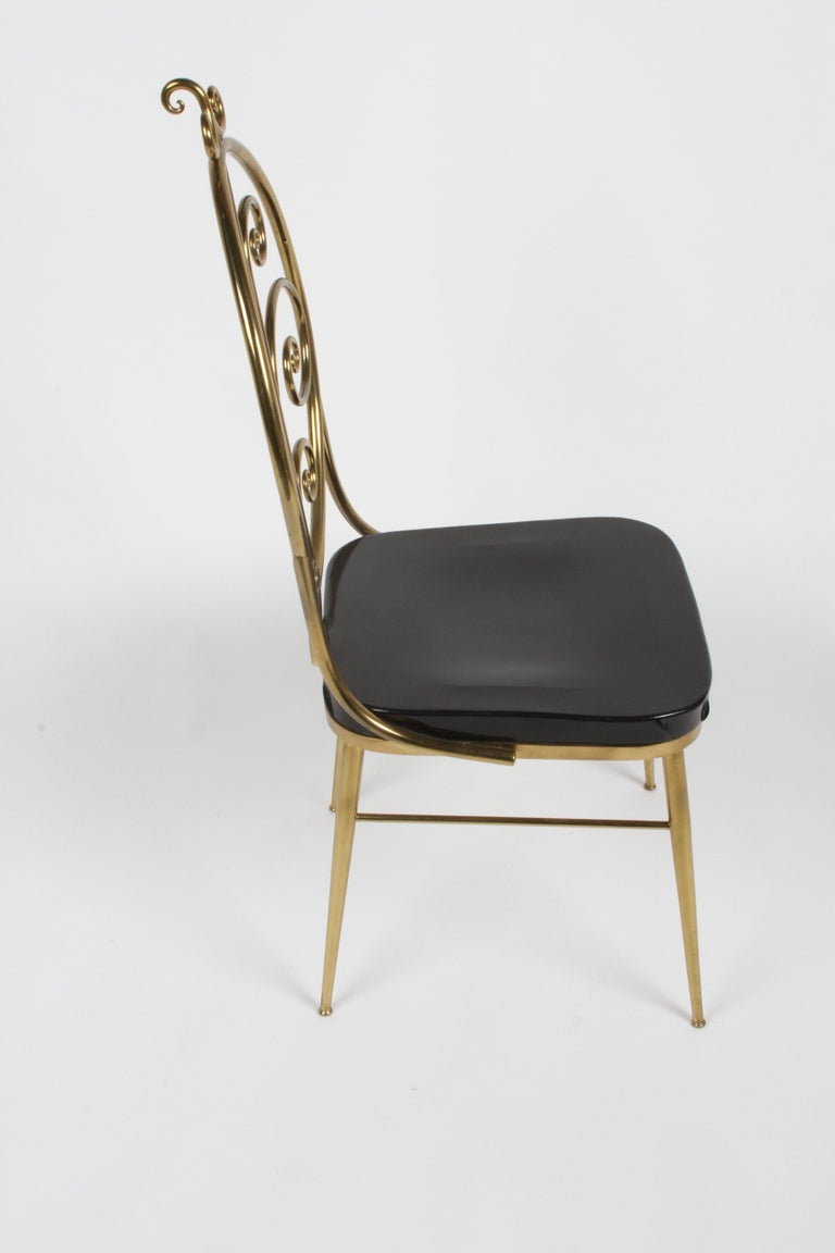 Italian Mid-Century Modern High Style Brass Scroll Desk or Side Chair Black Seat For Sale 8