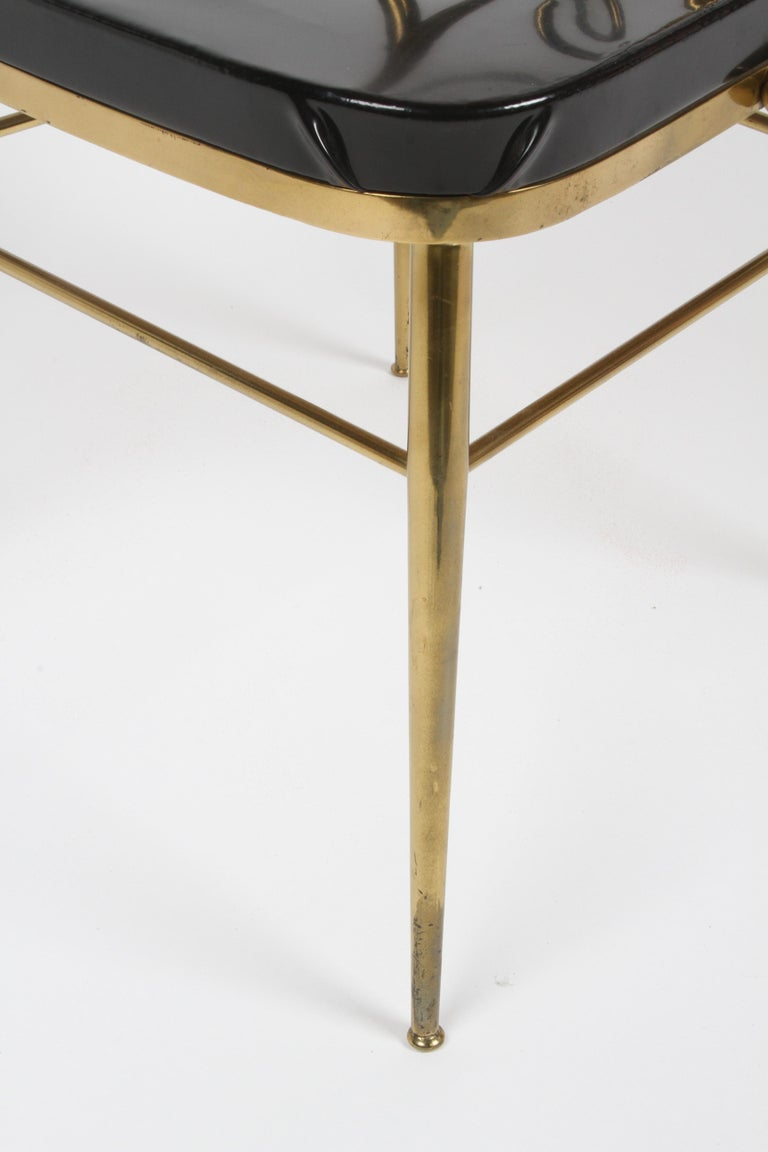 Italian Mid-Century Modern High Style Brass Scroll Desk or Side Chair Black Seat For Sale 9