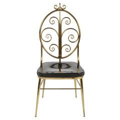 Italian Mid-Century Modern High Style Brass Scroll Desk or Side Chair Black Seat