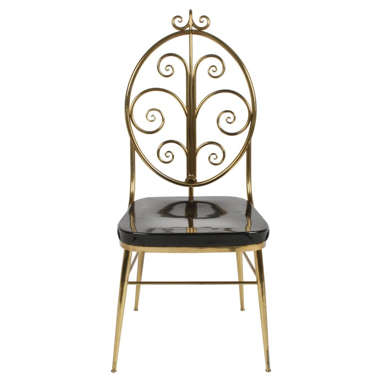 Italian Mid-Century Modern High Style Brass Scroll Desk or Side Chair Black Seat For Sale