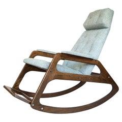 Italian Mid-Century Modern Ice Blue, Brown Wooden Rocking Chair, 1960s