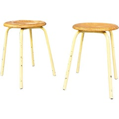 Italian Mid-Century Modern Industrial Metal and Wooden Stools, 1960s