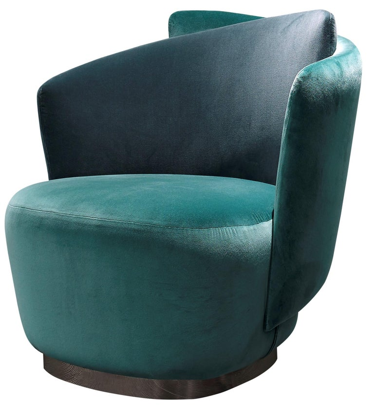 Velvet Italian Mid-Century Modern Inspired Armchair For Sale