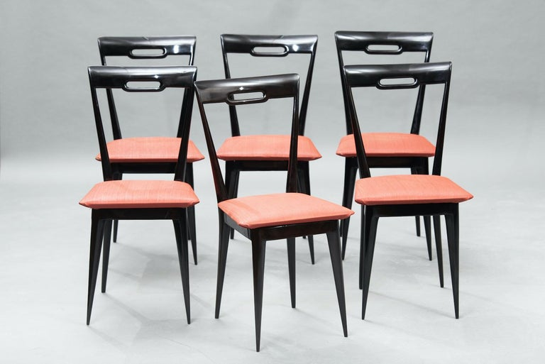 Italian Mid-Century Modern Italian Dining Chairs, Set of Six For Sale 1