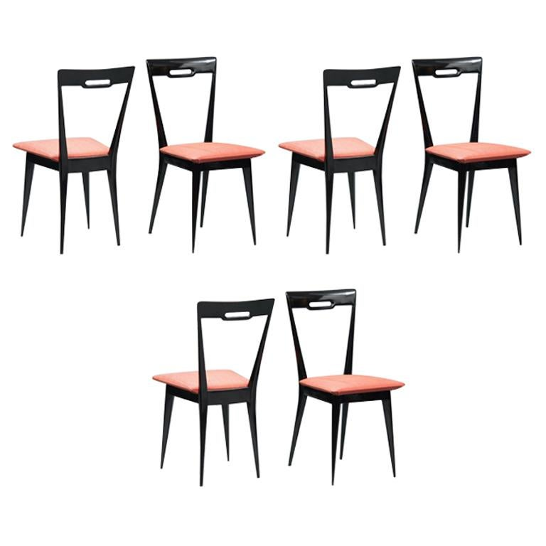 Italian Mid-Century Modern Italian Dining Chairs, Set of Six For Sale