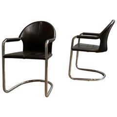Italian Mid-Century Modern Leather and Chrome Cantilever Armchairs
