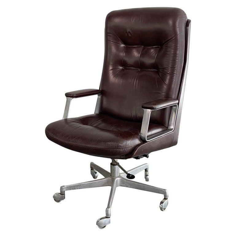 Italian Mid-Century Modern Leather High Back Executive Office Armchair