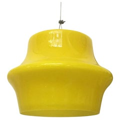 Italian Mid-Century Modern Lemon Yellow Glass Chandelier, 1960s